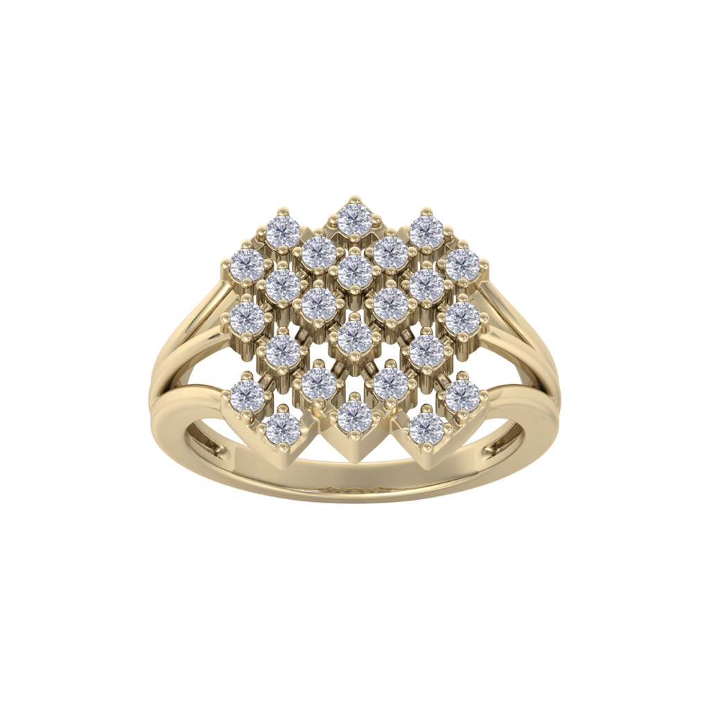 Elegant ring in yellow gold with white diamonds of 0.48 ct in weight