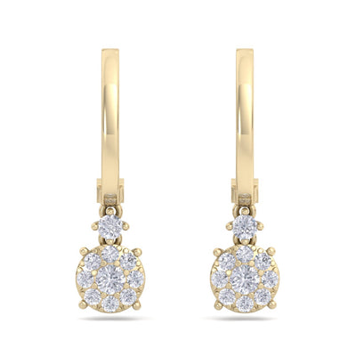 Elegant round drop earrings in yellow gold with white diamonds of 0.44 ct in weight - HER DIAMONDS®