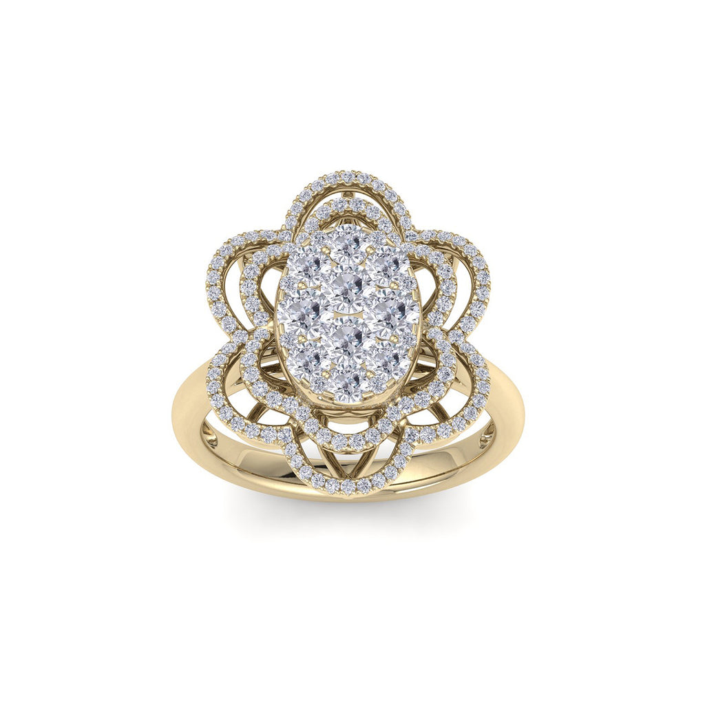 Oval flower shape ring in yellow gold with white diamonds of 1.43 ct in weight