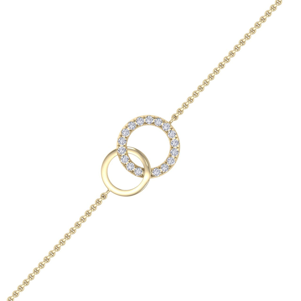Bracelet in yellow gold with white diamonds of 0.52 ct in weight