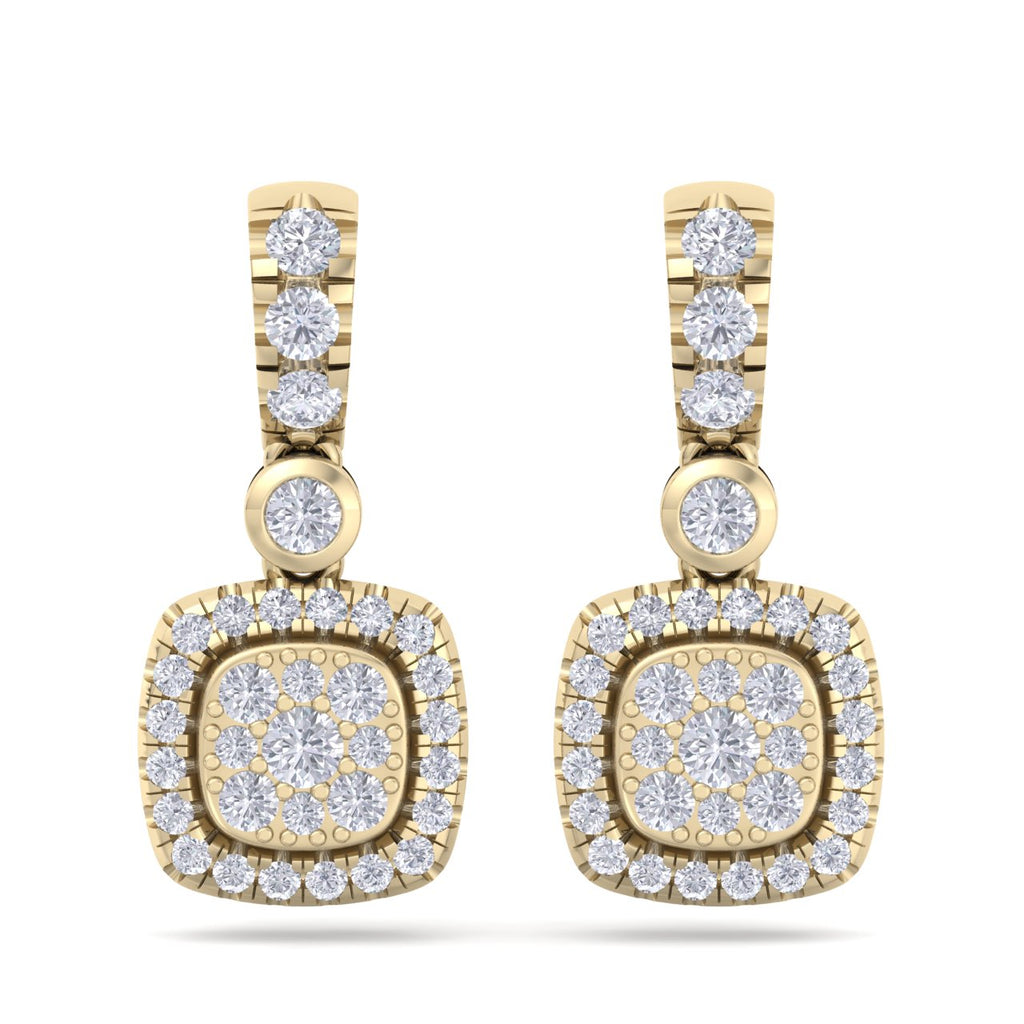 Square drop earrings in yellow gold with white diamonds of 0.76 ct in weight - HER DIAMONDS®