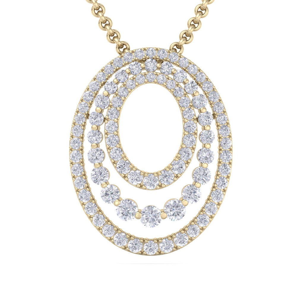 Oval pendant in yellow gold with white diamonds of 2.63 ct in weight