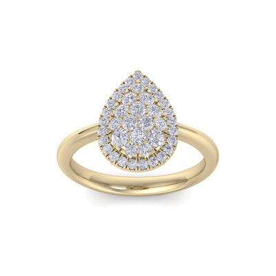 Pear shaped ring in yellow gold with white diamonds of 0.54 ct in weight