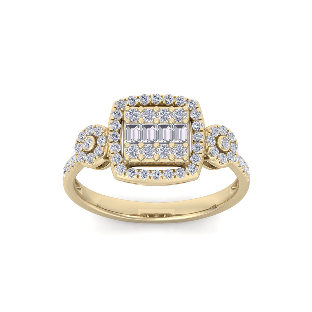 Square ring in yellow gold with white diamonds of 0.37 ct in weight
