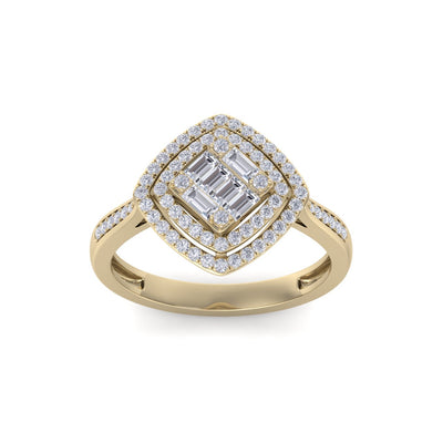 Ring in yellow gold with white diamonds of 0.44 ct in weight