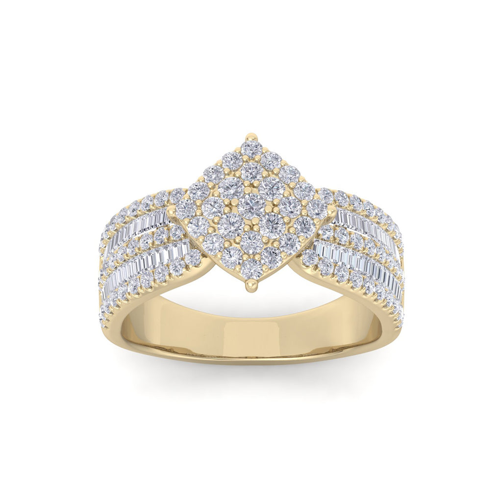 Ring in yellow gold with white diamonds of 1.04 ct in weight