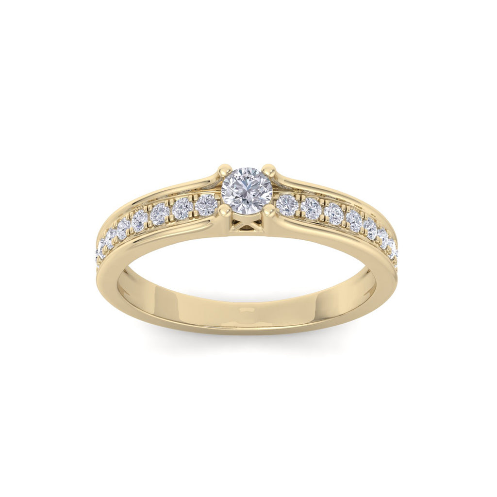 Petite solitaire engagement ring in yellow gold with white diamonds of 0.30 ct in weight
