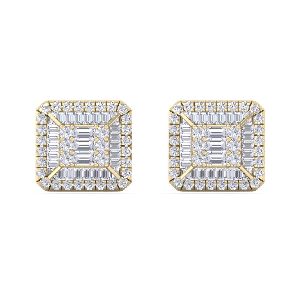 Square stud earrings in yellow gold with white diamonds of 0.88 ct in weight
