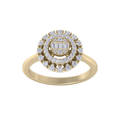 Round cluster ring in yellow gold with white diamonds of 0.37 ct in weight