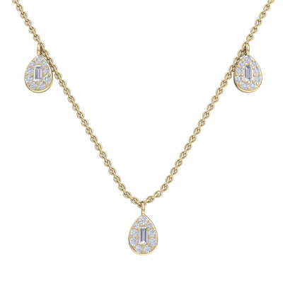Pear drops necklace in yellow gold with white diamonds of 0.70 ct in weight - HER DIAMONDS®