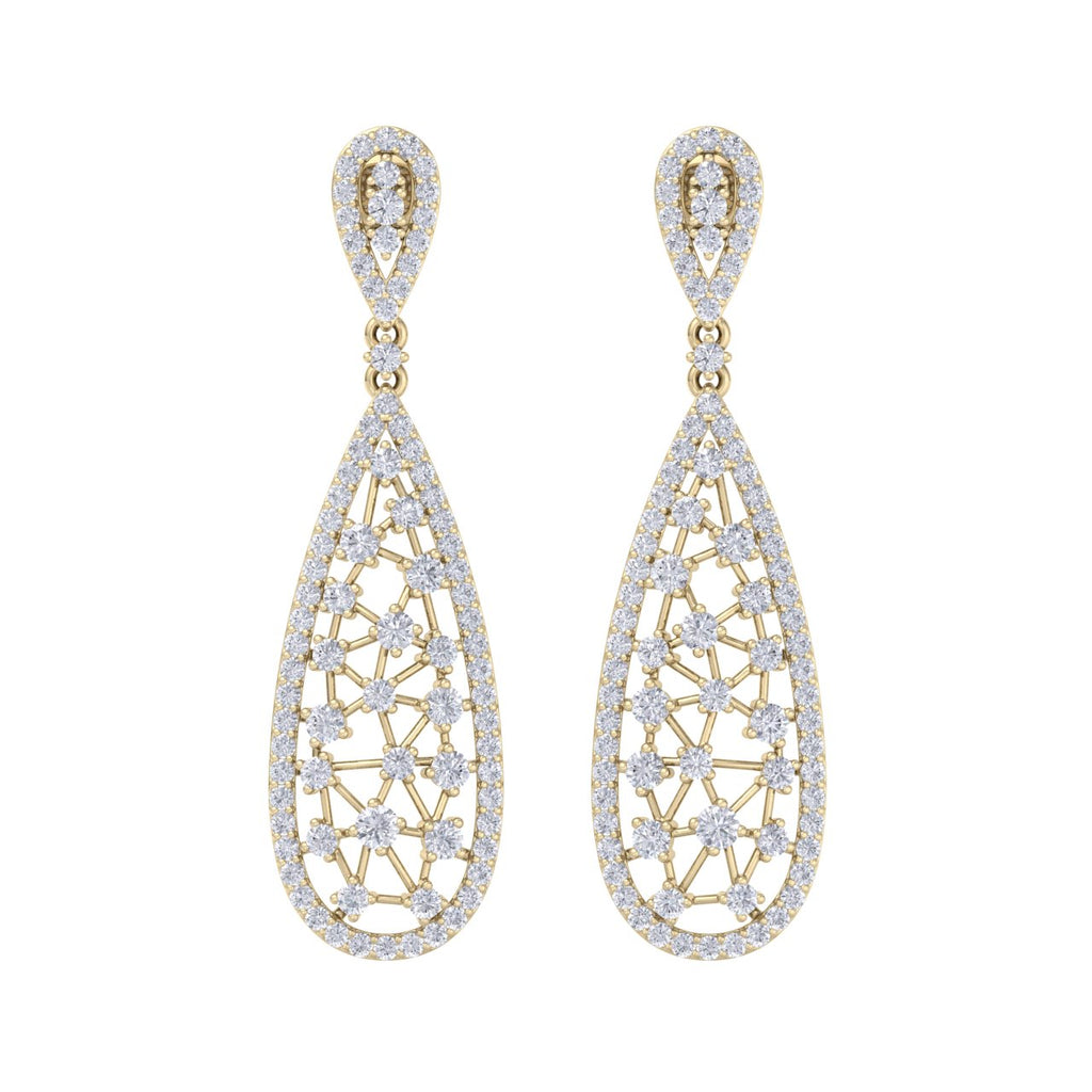 Chandelier earrings in yellow gold with white diamonds of 3.04 ct in weight