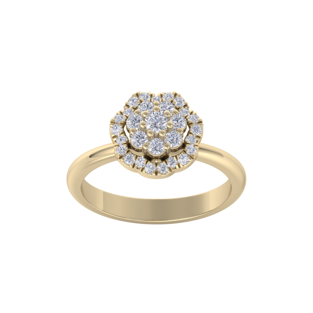 Flower diamond ring in yellow gold with white diamonds of 0.35 ct in weight