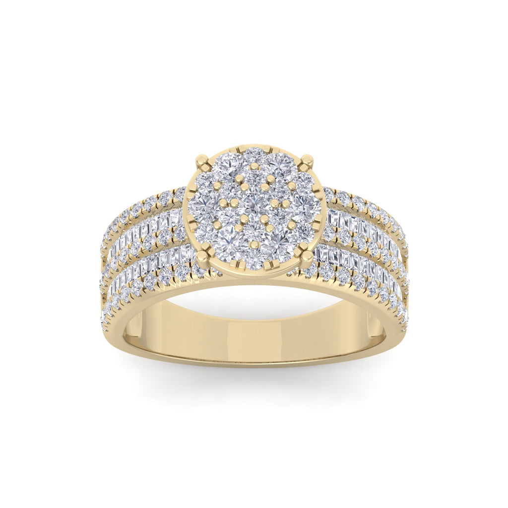 Ring in yellow gold with white diamonds of 1.11 ct in weight