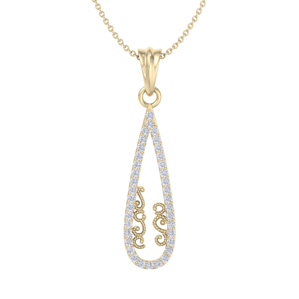 Tear drop pendant in yellow gold with white diamonds of 0.22 ct in weight