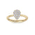 Pear shaped ring in white gold with white diamonds of 0.40 ct in weight
