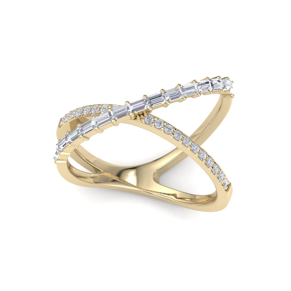 Ring in yellow gold with white diamonds of 0.46 ct in weight