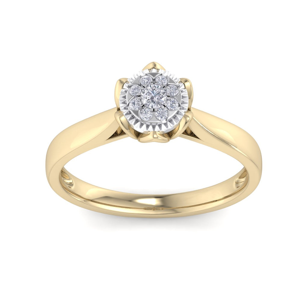 Ring in yellow gold with white diamonds of 0.14 ct in weight in a crown setting