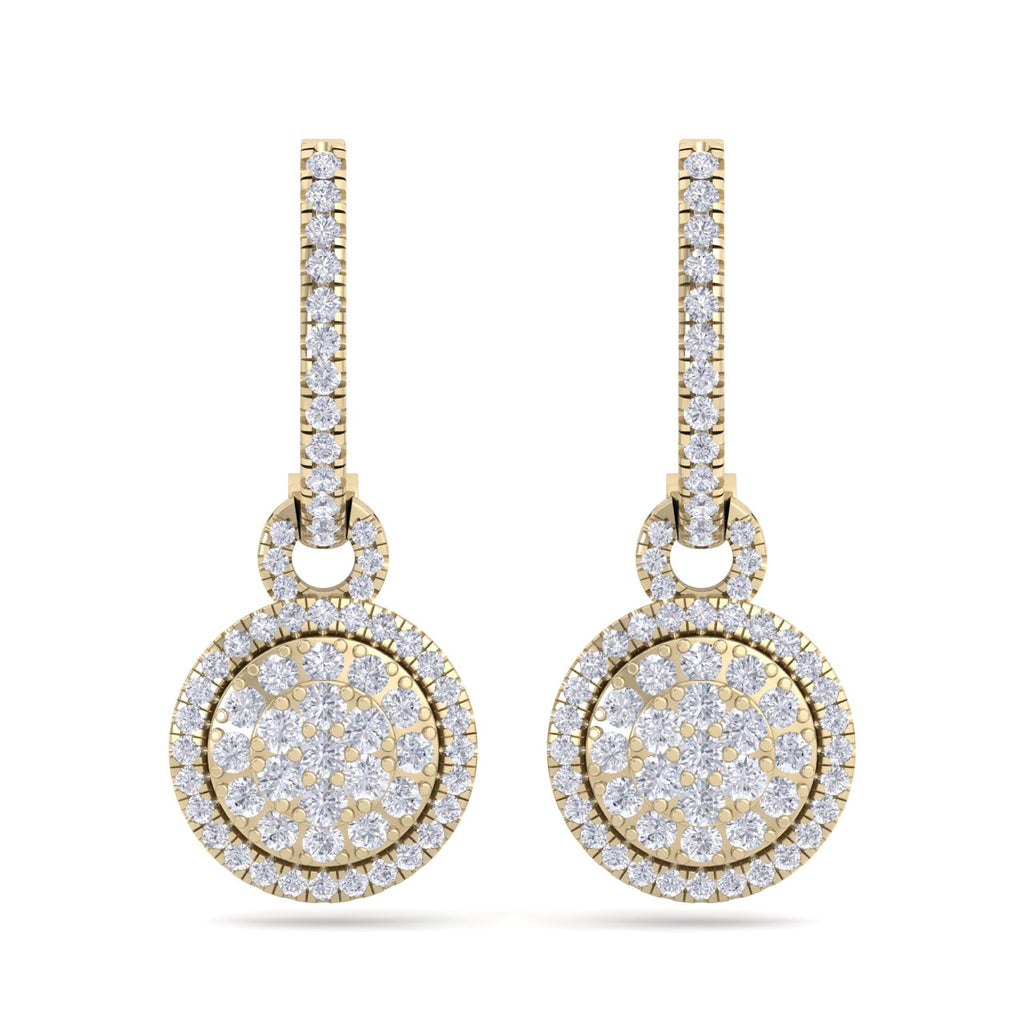 Round drop earrings in yellow gold with white diamonds of 0.84 ct in weight - HER DIAMONDS®