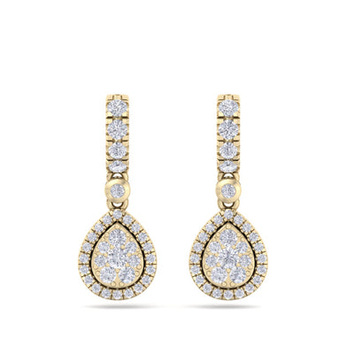 Pear drop earrings in yellow gold with white diamonds of 0.79 ct in weight - HER DIAMONDS®