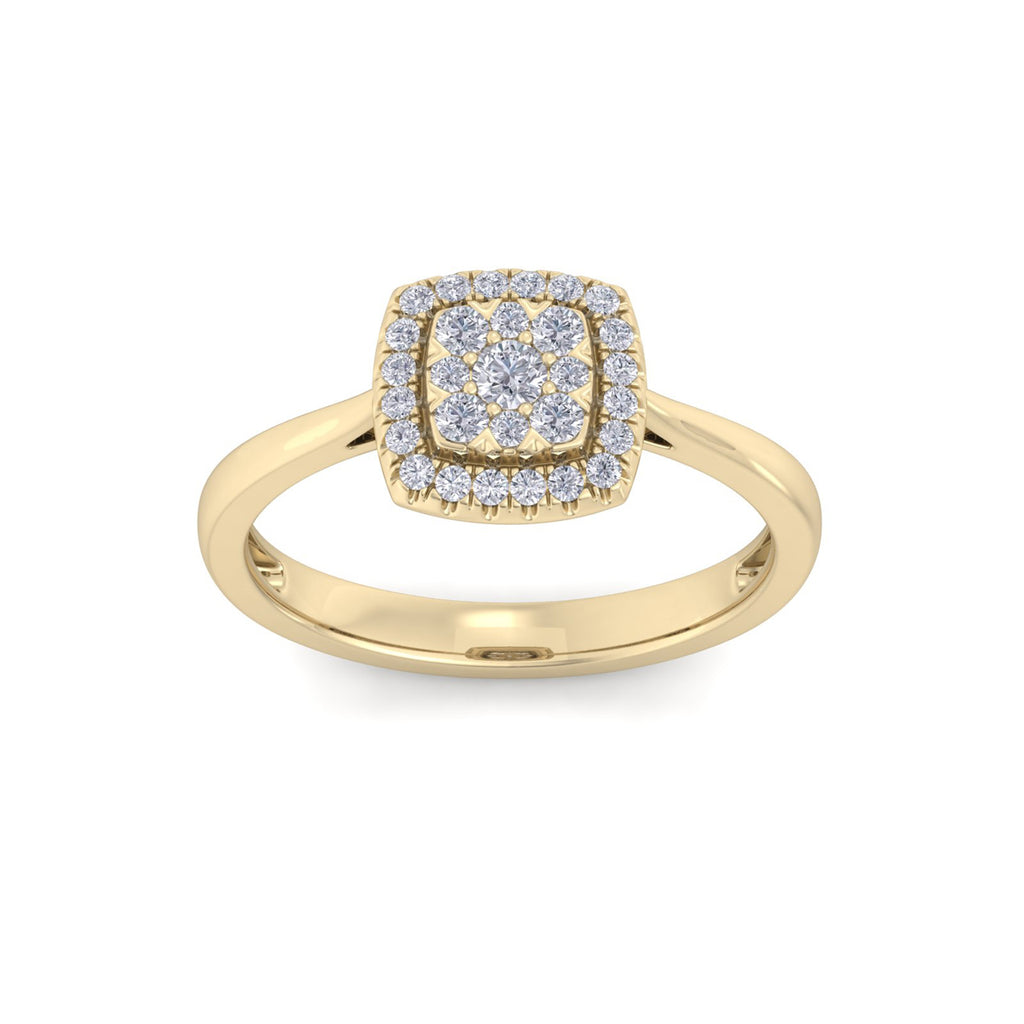 Classic square ring in yellow gold with white diamonds of 0.31 ct in weight