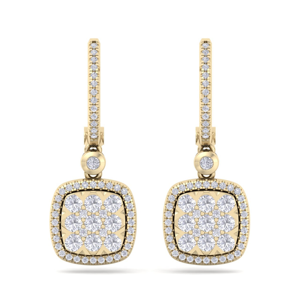 Square drop earrings in yellow gold with white diamonds of 1.11 ct in weight - HER DIAMONDS®