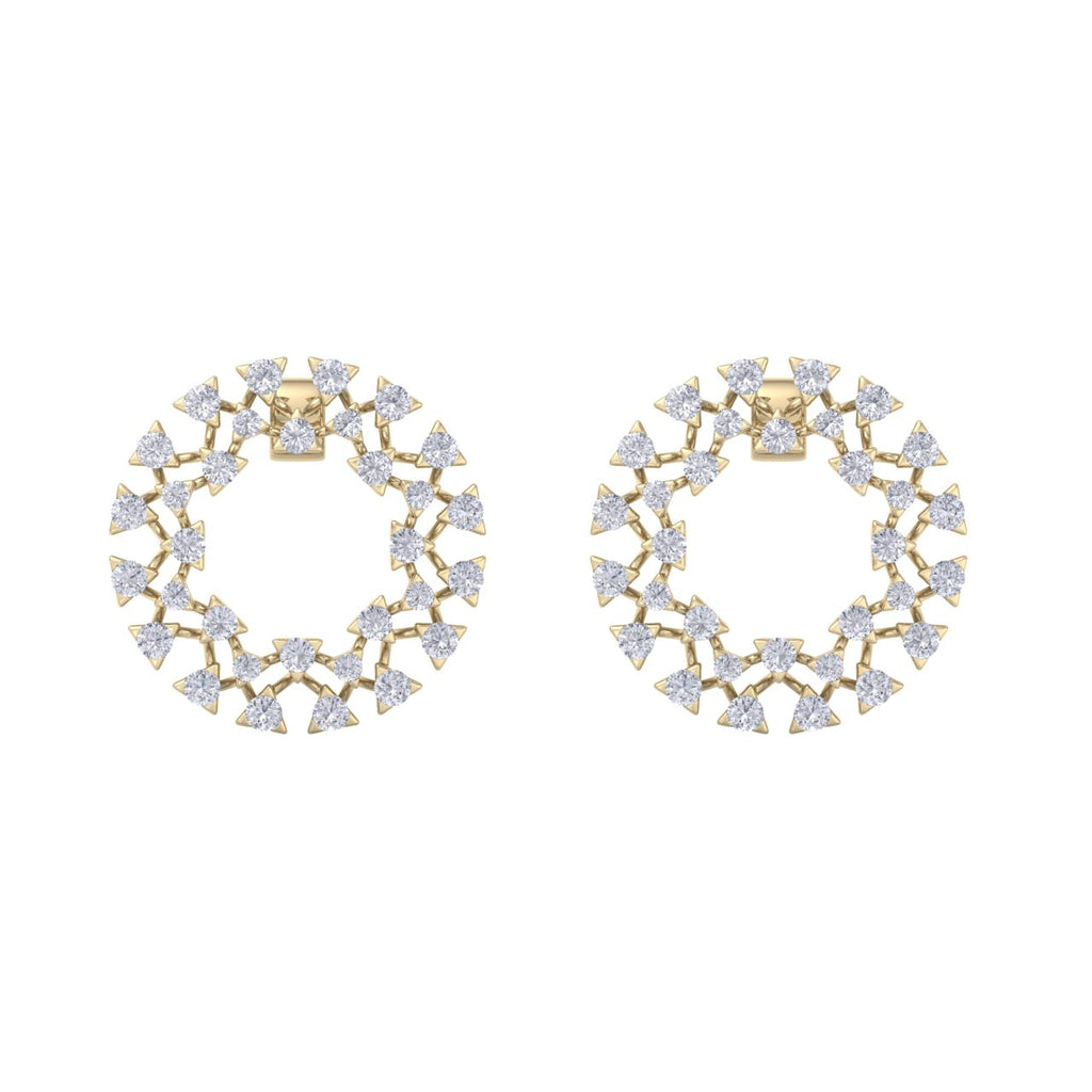 Circle stud earrings in yellow gold with white diamonds of 2.77 ct in weight