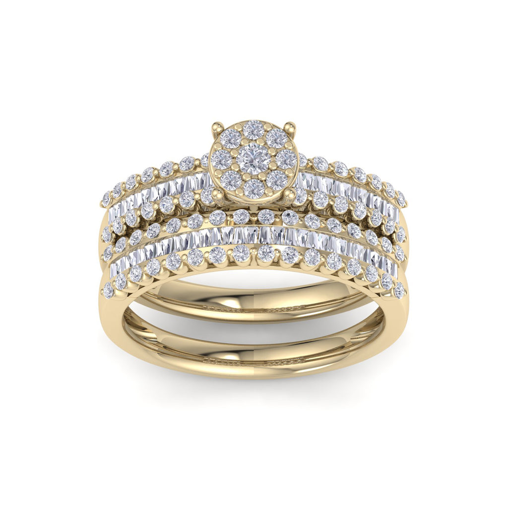 Bridal set in yellow gold with white diamonds of 1.01 ct in weight