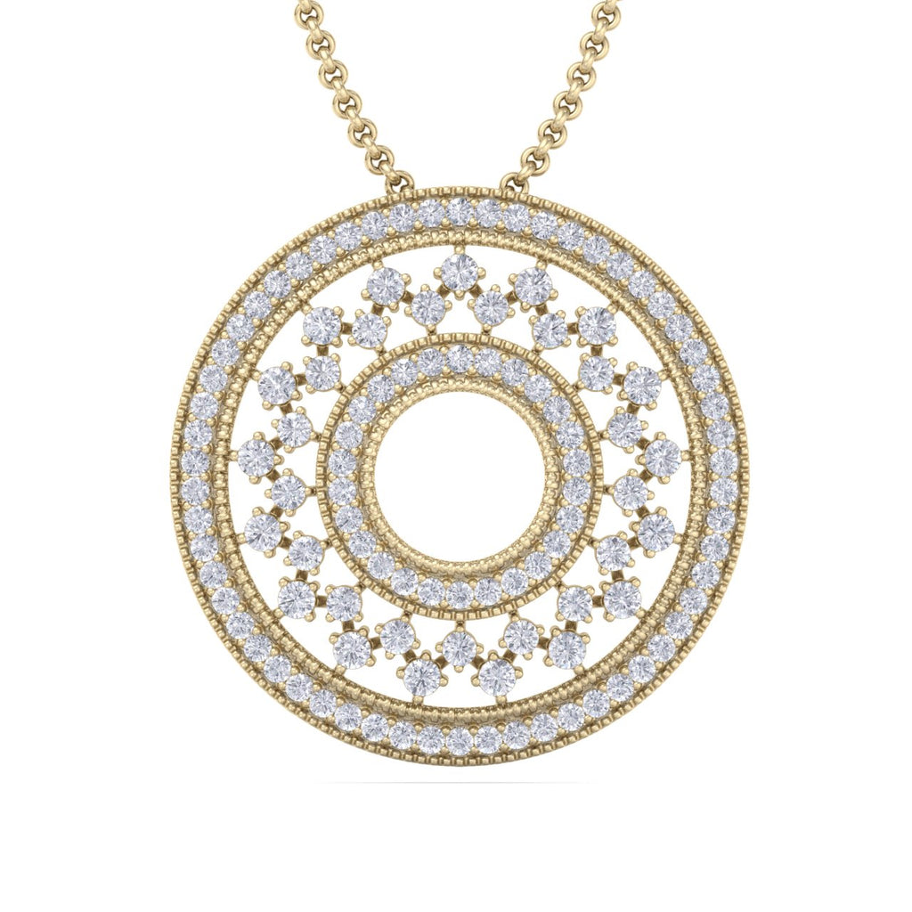 Exclusive round pendant in yellow gold with white diamonds of 4.11 ct in weight
