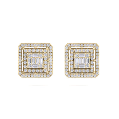 Square stud earrings in yellow gold with white diamonds of 0.71 ct in weight - HER DIAMONDS®
