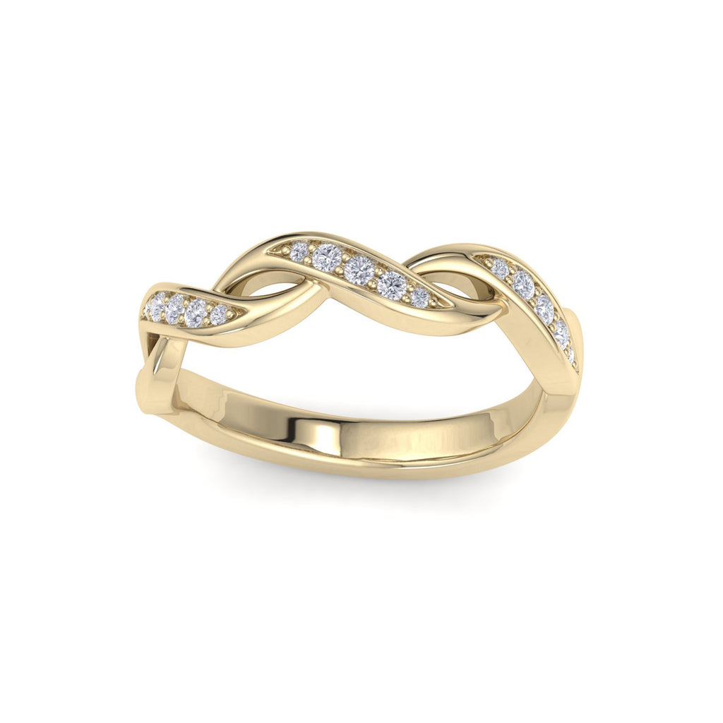 Twisted ring in yellow gold with white diamonds of 0.15 ct in weight