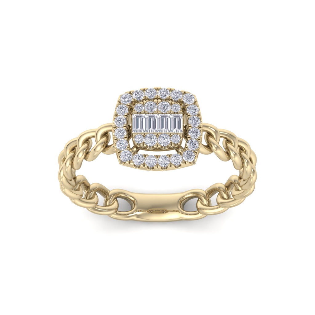 Ring with chain band in yellow gold with white diamonds of 0.33 ct in weight