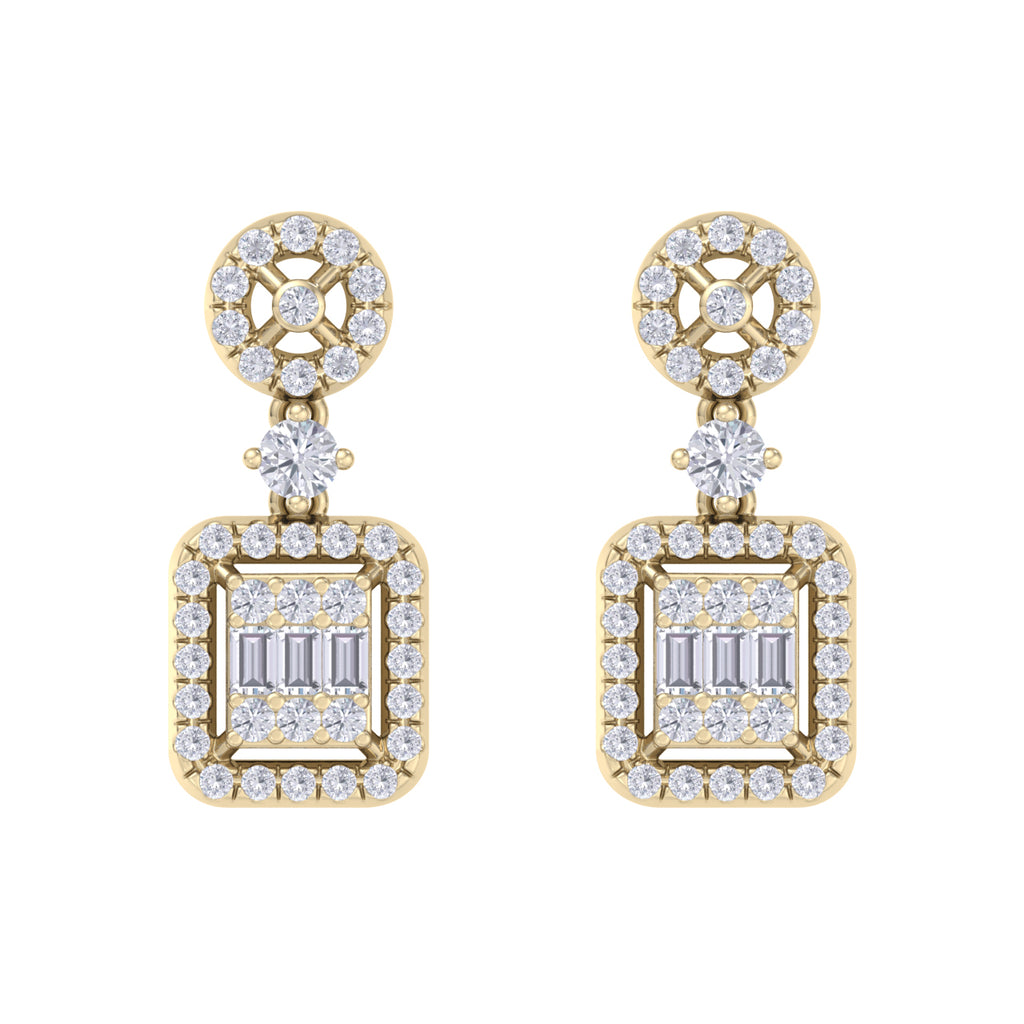 Square drop earrings in yellow gold with white diamonds of 0.61 ct in weight - HER DIAMONDS®