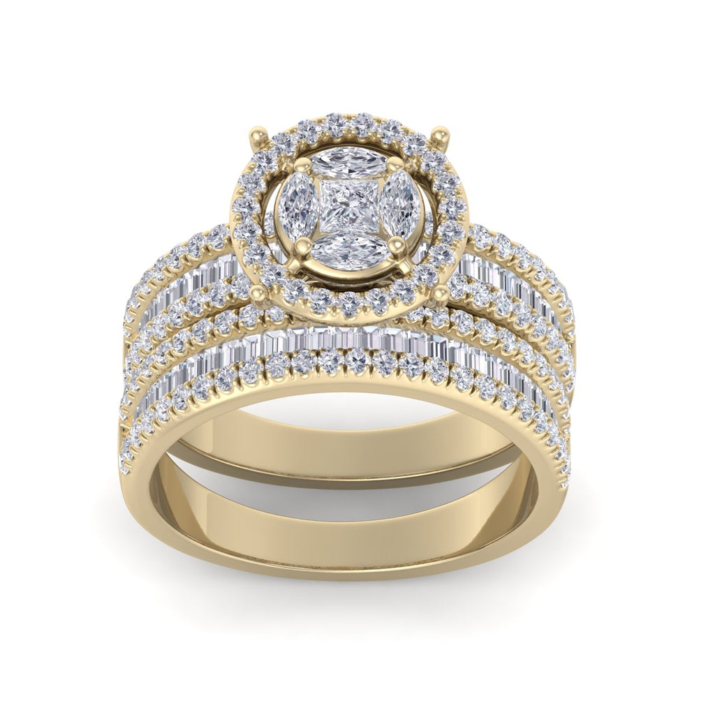 Bridal set in yellow gold with white diamonds of 1.24 ct in weight