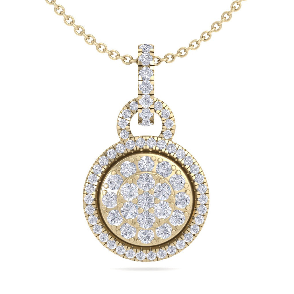 Round pendant in yellow gold with white diamonds of 0.48 ct in weight - HER DIAMONDS®