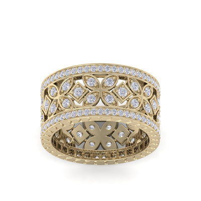 Wide flower ring in yellow gold with white diamonds of 0.91 ct in weight