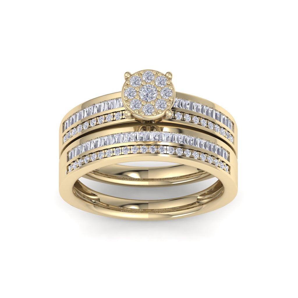 Bridal set in yellow gold with white diamonds of 0.76 ct in weight
