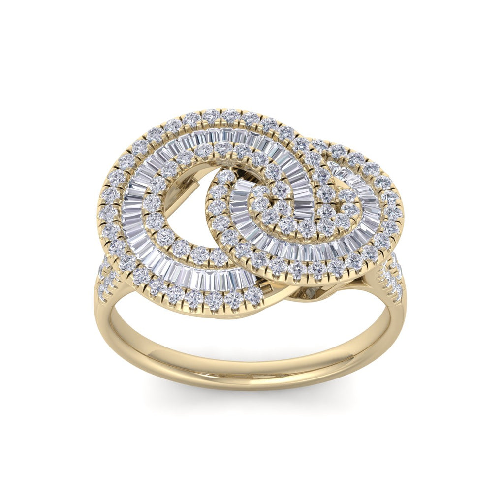 Statement ring in yellow gold with white diamonds of 0.65 ct in weight