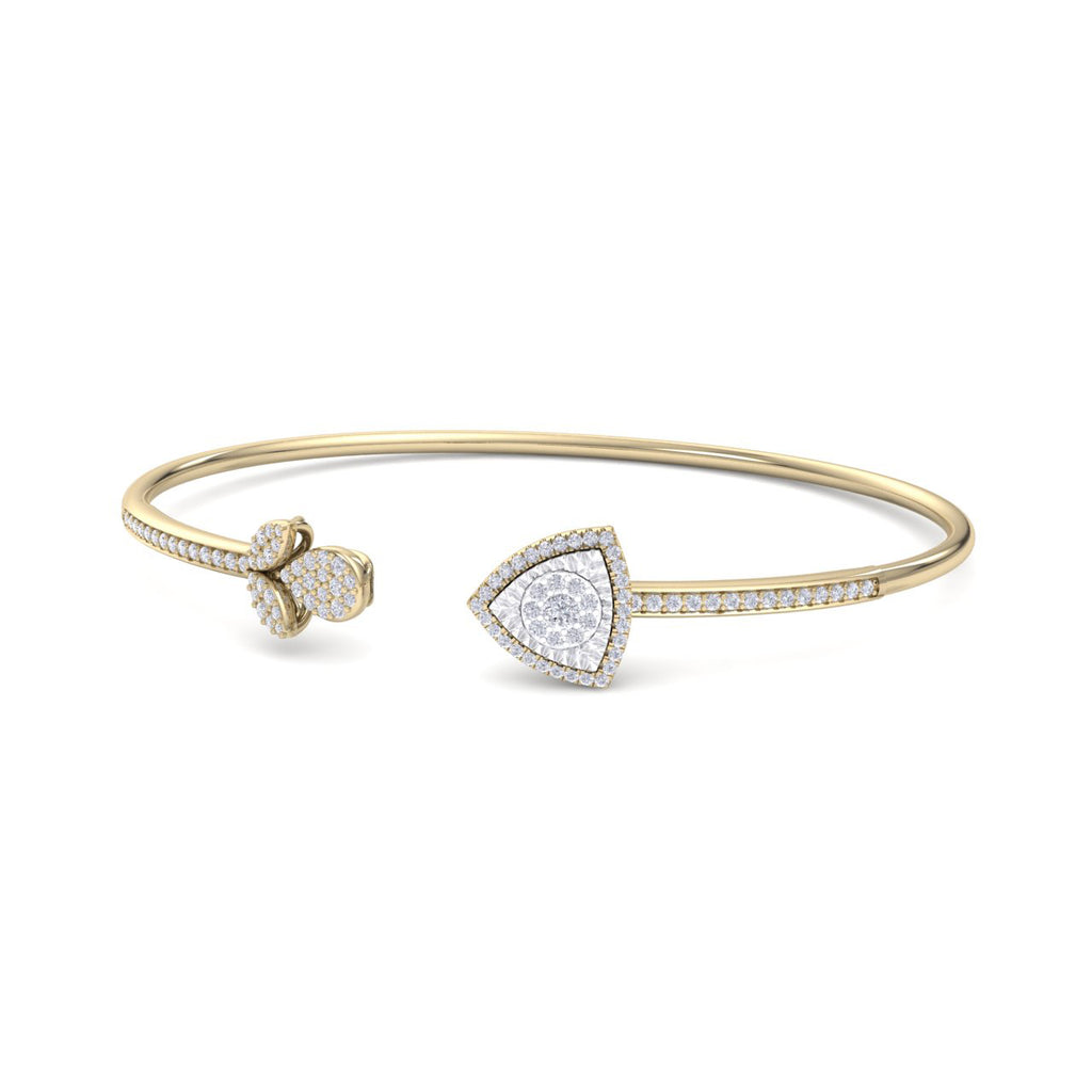 Bangle with tulip in yellow gold white diamonds of 0.52 ct in weight