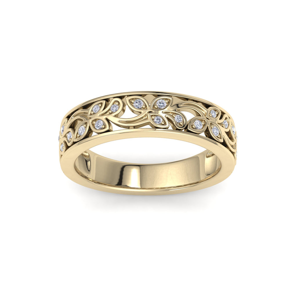 Ring with leaf pattern in yellow gold with white diamonds of 0.13 ct in weight