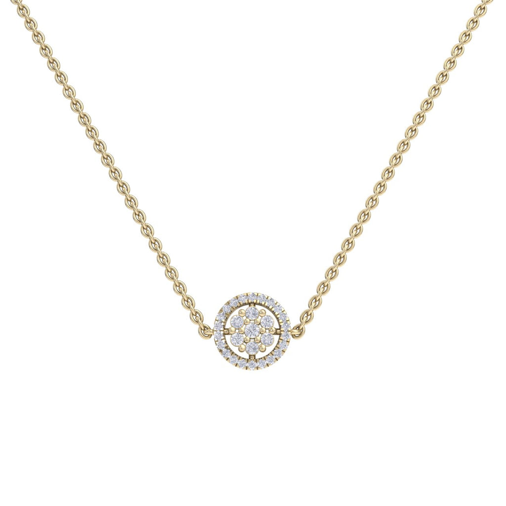 Circle necklace in yellow gold with white diamonds of 0.33 ct in weight - HER DIAMONDS®