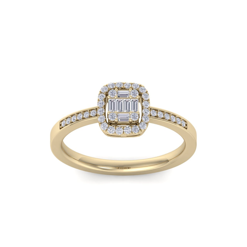 Engagement ring with channel setting in yellow gold with white diamonds of 0.18 ct in weight
