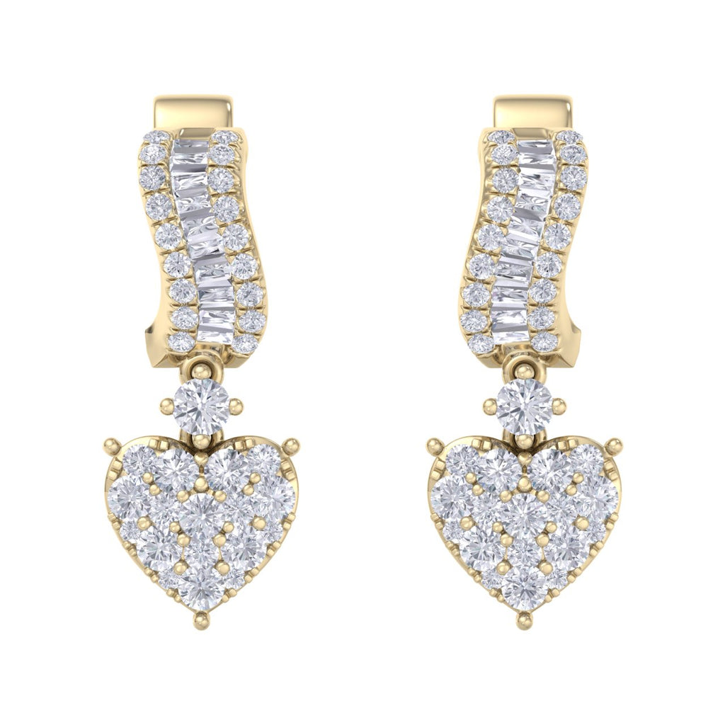 Drop earrings in yellow gold with white diamonds of 1.09 ct in weight