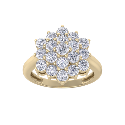 Flower ring in yellow gold with white diamonds of 1.99 ct in weight