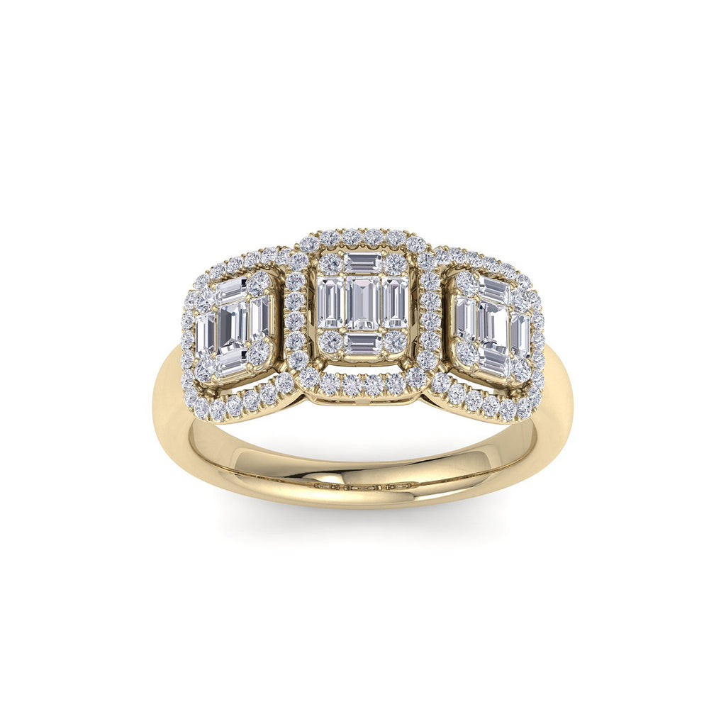 Ring in yellow gold with white diamonds of 0.90 ct in weight