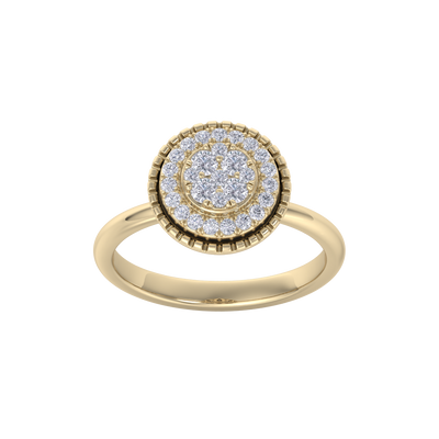 Round cluster ring in yellow gold with white diamonds of 0.38 ct in weight