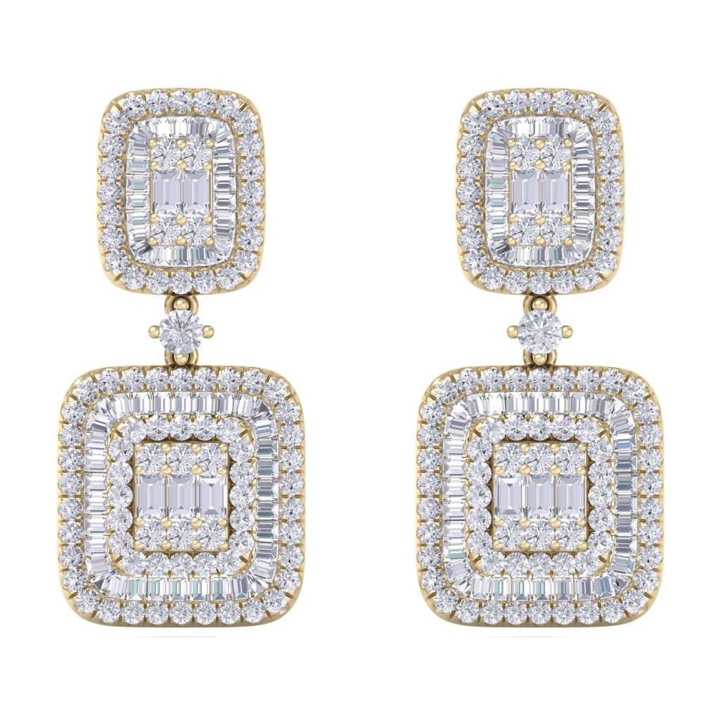 Square drop earrings in yellow gold with white diamonds of 2.00 ct in weight