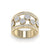 Double pave diamond ring in yellow gold with white diamonds of 1.07 ct in weight