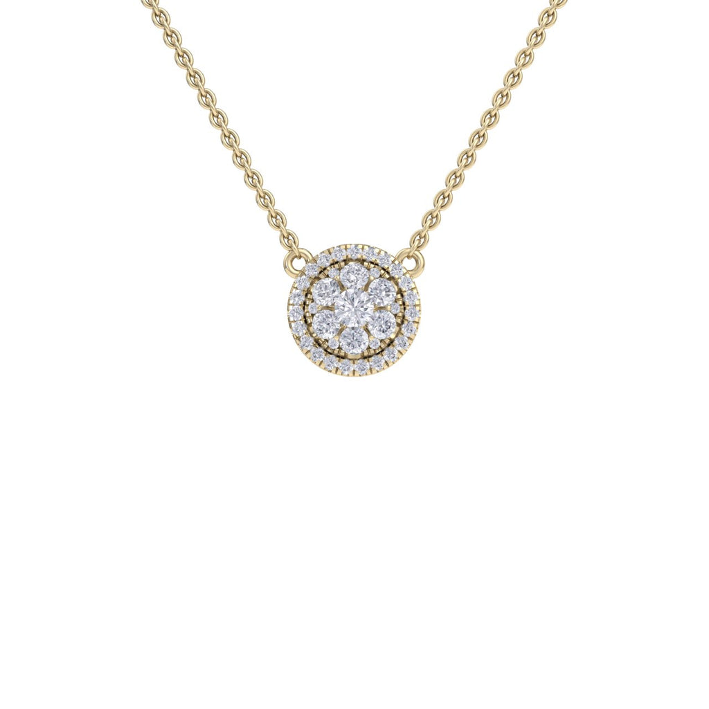 Circle necklace in yellow gold with white diamonds of 0.64 ct in weight - HER DIAMONDS®