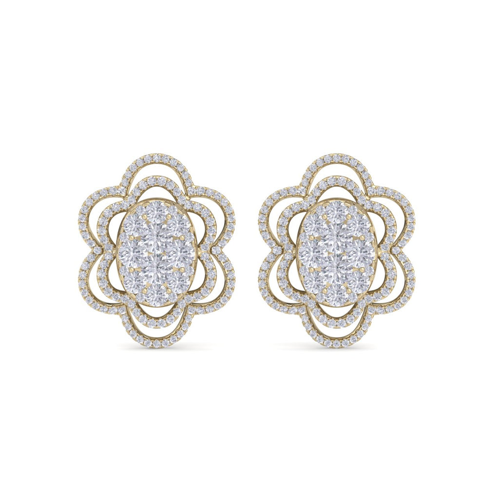 Flower-shaped earrings in yellow gold with white diamonds of 2.67 ct in weight - HER DIAMONDS®