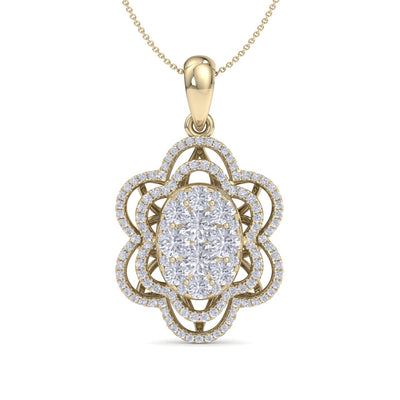 Flower shaped pendant necklace in yellow gold with white diamonds of 1.36 ct in weight - HER DIAMONDS®